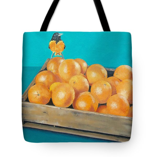 Tote Bag featuring the painting Frustrated Oriole by Susan DeLain