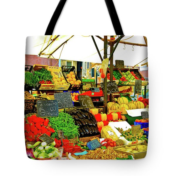 Tote Bag featuring the photograph Fruttolo Italian Vegetable Stand by Harry Spitz