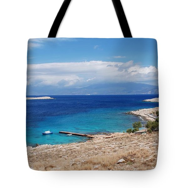 Ftenagia Beach On Halki Tote Bag