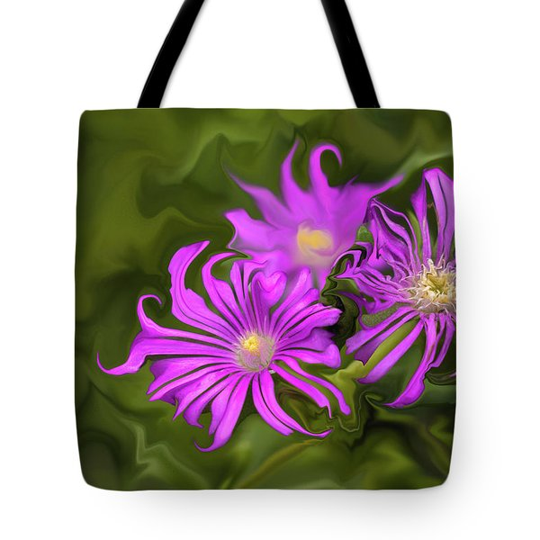 Tote Bag featuring the digital art Fuchsia Flower - Digital Painting by Cristina Stefan