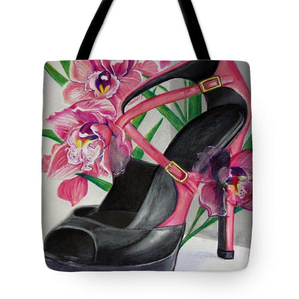 Fuchsia Orchid Colour Block Tote Bag by Karon Melillo DeVega
