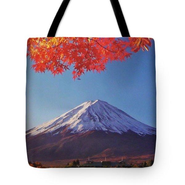 Fuji Shine In Autumn Leaves Tote Bag