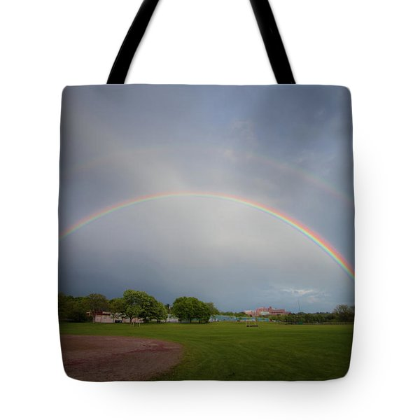 Tote Bag featuring the photograph Full Double Rainbow by Darryl Hendricks