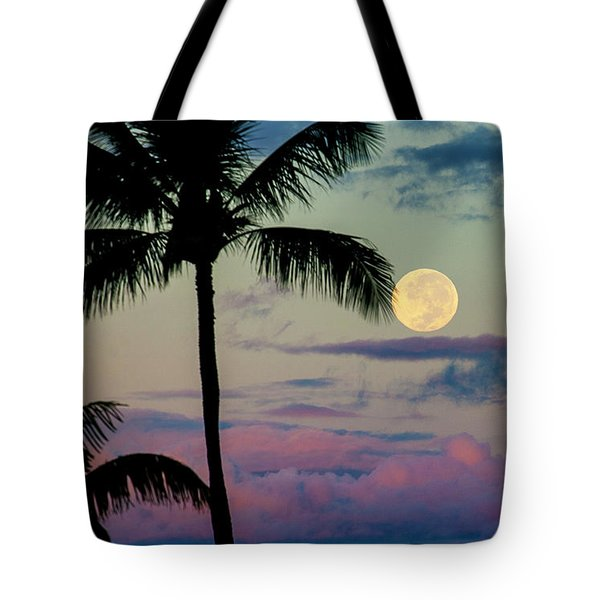 Full Moon And Palm Trees Tote Bag