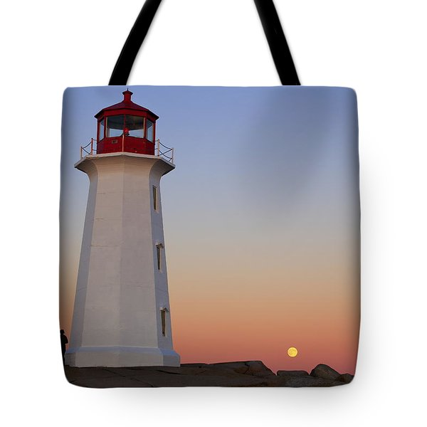 Full Moon At Peggy's Point Lighthouse, Nova Scotia Tote Bag