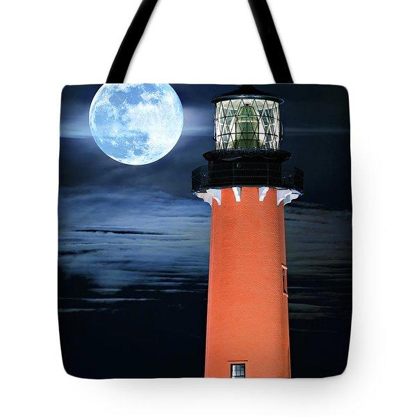 Full Moon Closeup Next To Jupiter Lighthouse In Florida Tote Bag