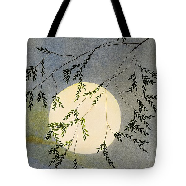 Moon And Tree Branch Painting Tote Bag
