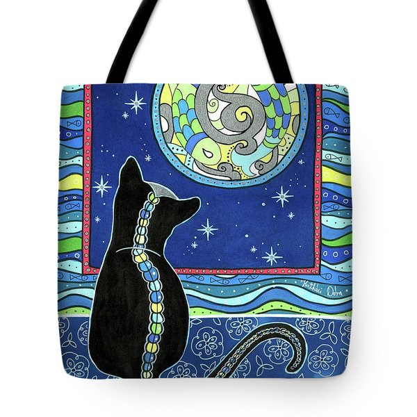 Pisces Cat Zodiac - Full Moon Tote Bag