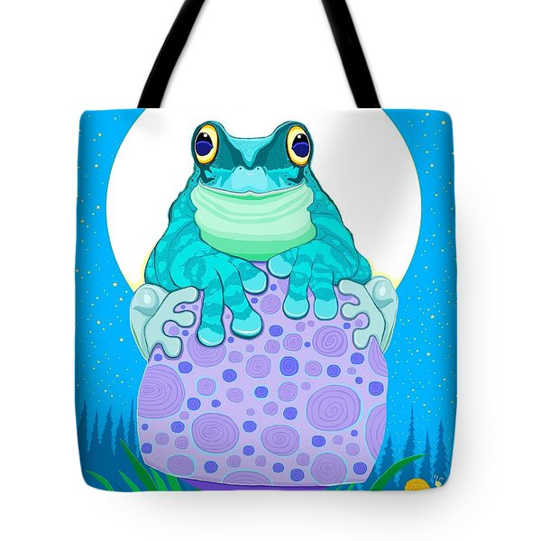 Tote Bag featuring the digital art Full Moon Froggy  by Nick Gustafson