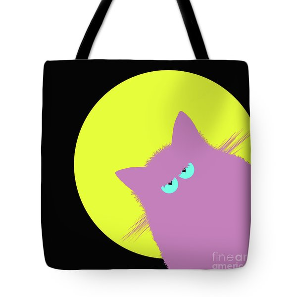 Full Moon Lilac Cat Tote Bag