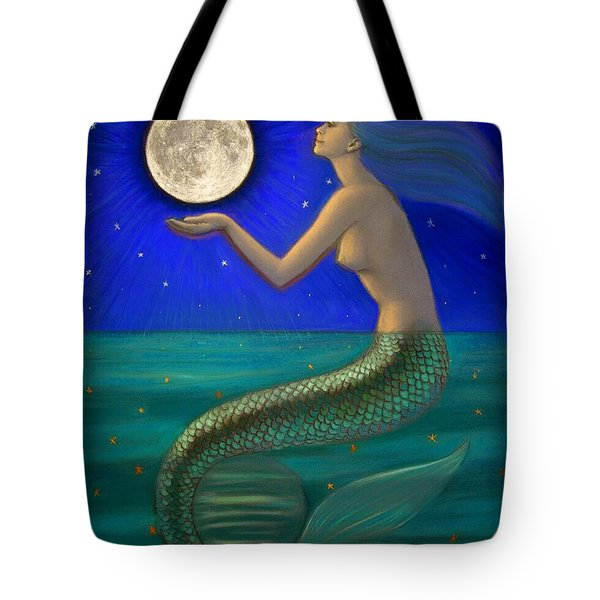 Full Moon Mermaid Tote Bag by Sue Halstenberg