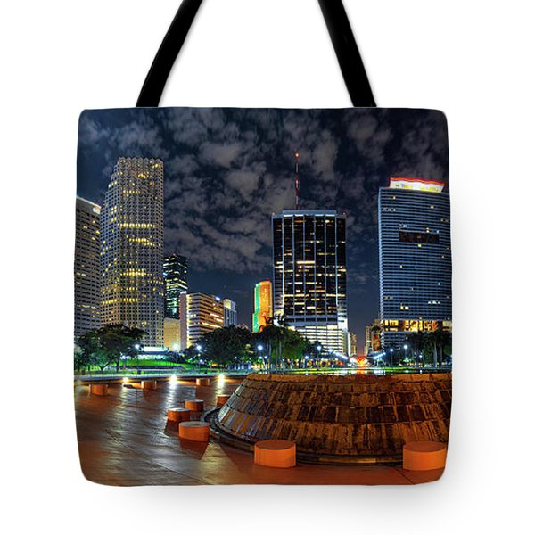 Full Moon Over Bayfront Park In Downtown Miami Tote Bag