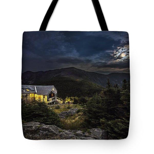 Full Moon Over Greenleaf Hut Tote Bag
