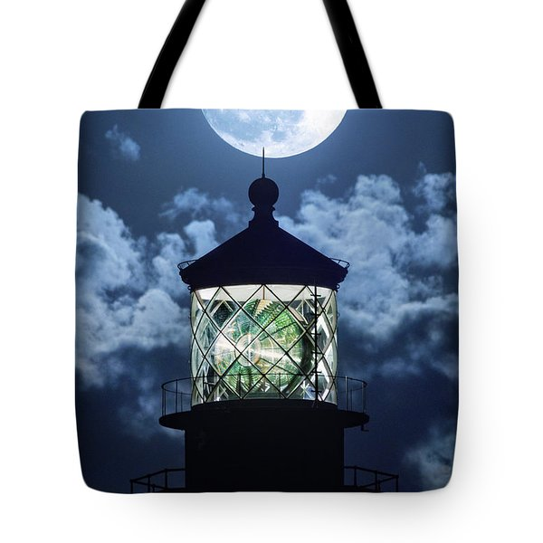 Full Moon Over Hillsboro Lighthouse In Pompano Beach Florida  Tote Bag by Justin Kelefas