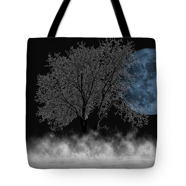 Full Moon Over Iced Tree Tote Bag
