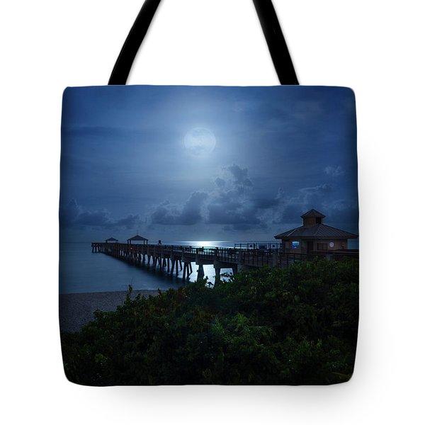 Full Moon Over Juno Beach Pier Tote Bag
