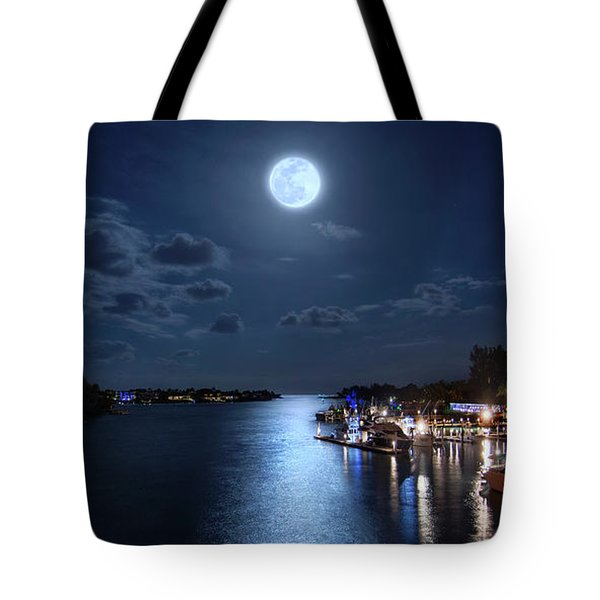 Full Moon Over Jupiter Lighthouse And Inlet In Florida Tote Bag