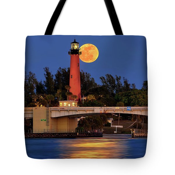 Tote Bag featuring the photograph Full Moon Over Jupiter Lighthouse, Florida by Justin Kelefas