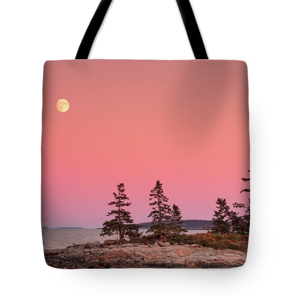 Tote Bag featuring the photograph Full Moon Over Maine  by Emmanuel Panagiotakis