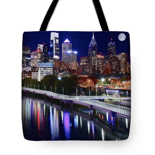 Full Moon Over Philly Tote Bag by Frozen in Time Fine Art Photography