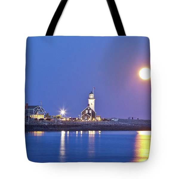 Full Moon Over Scituate Light Tote Bag