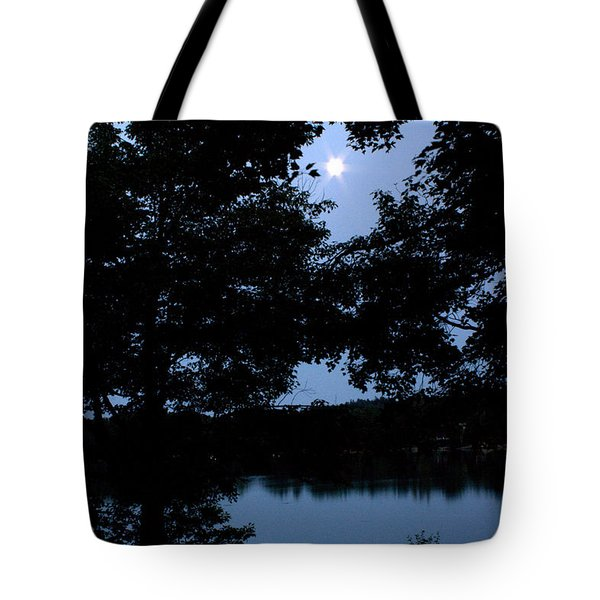 Tote Bag featuring the photograph Full Moon Over The Bay by Greg DeBeck
