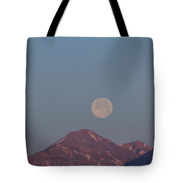 Full Moon Over The Tetons Tote Bag
