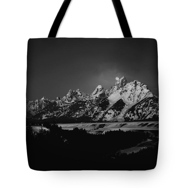 Full Moon Sets In The Tetons Tote Bag