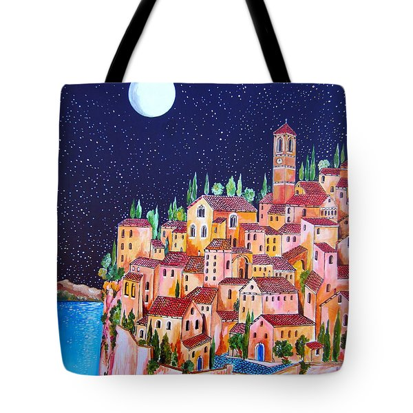 Full Moon Over The Village By The Lake Tote Bag