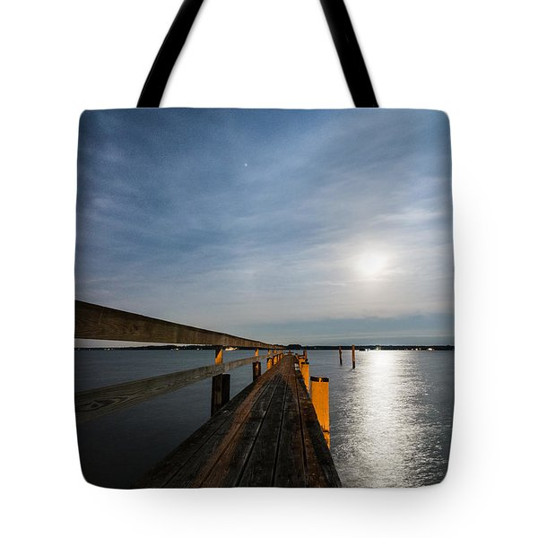 Full Moon Pier Tote Bag