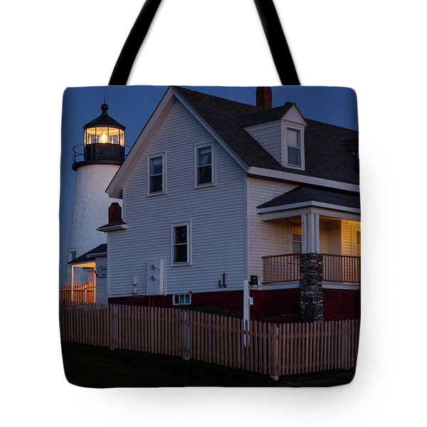 Tote Bag featuring the photograph Full Moon Rise At Pemaquid Light, Bristol, Maine -150858 by John Bald