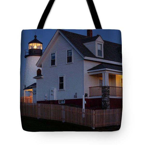 Full Moon Rise At Pemaquid Light, Bristol, Maine -150858 Tote Bag
