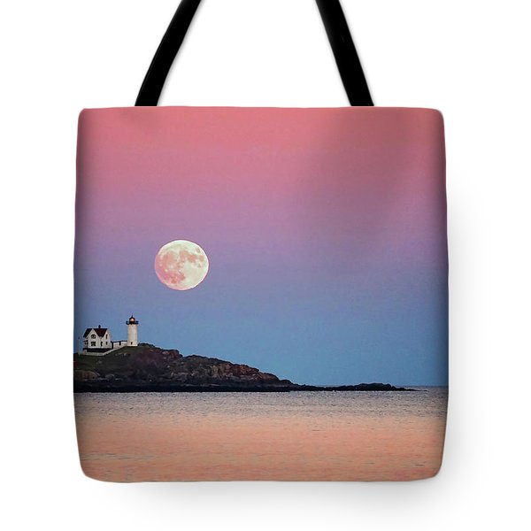Tote Bag featuring the photograph Full Moon Rising At Nubble Light by Wayne Marshall Chase