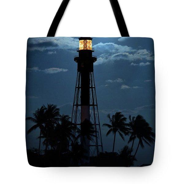 Full Moon Rising Over Hillsboro Lighthouse In Pompano Beach Florida Tote Bag