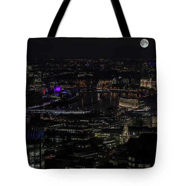 Full Color Moon Rising Over London Skyline  Tote Bag