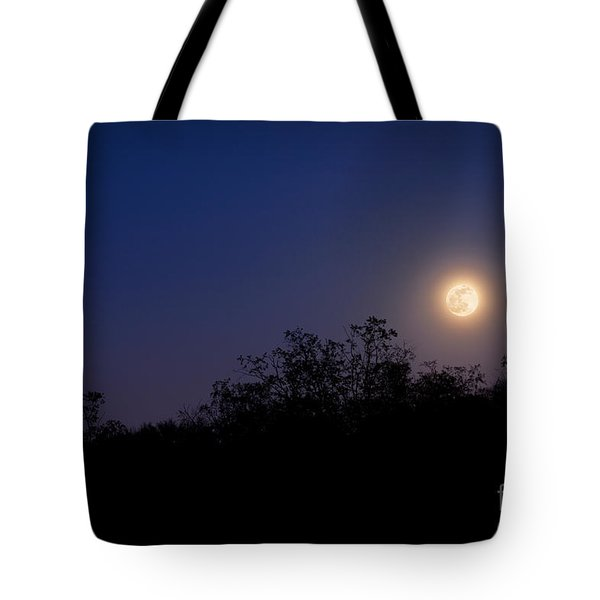 Full Moon Rising Over Trees Tote Bag by Sharon Dominick