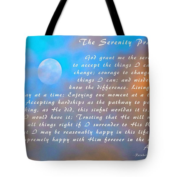 Tote Bag featuring the photograph Full Moon Serenity Prayer Digital by Floyd Snyder