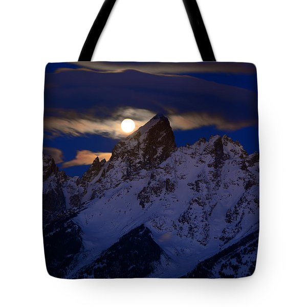 Full Moon Sets Over The Grand Teton Tote Bag