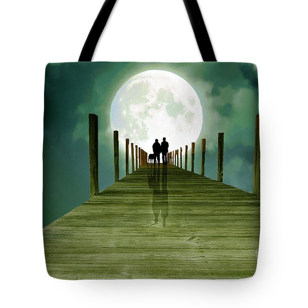Full Moon Silhouette Tote Bag by Mim White