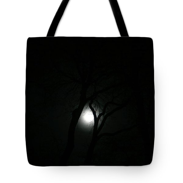Tote Bag featuring the photograph Full Moon Through Trees by Marilyn Hunt
