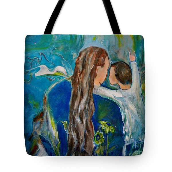 Tote Bag featuring the painting Full Of Wonder by Deborah Nell