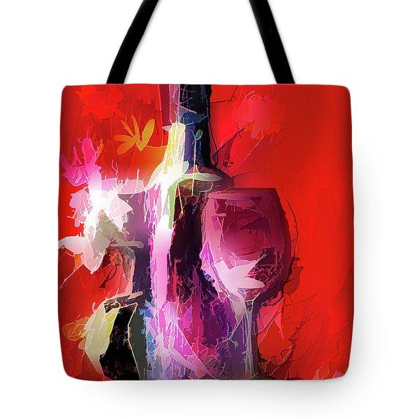 Fun Colorful Modern Wine Art   Tote Bag