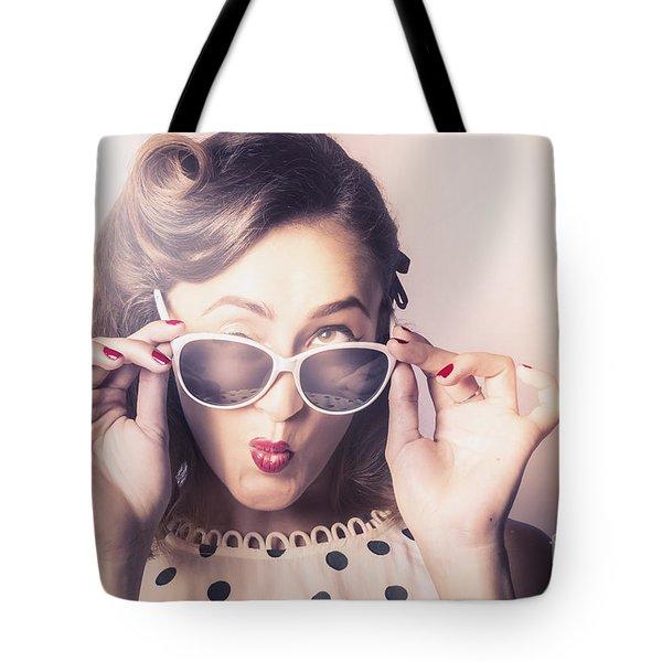 Fun Comical Retro Fashion Portrait. Pin-up Pout Tote Bag