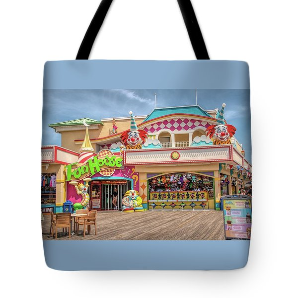 Tote Bag featuring the photograph Fun House On The Point Pleasant Boardwalk by Kristia Adams