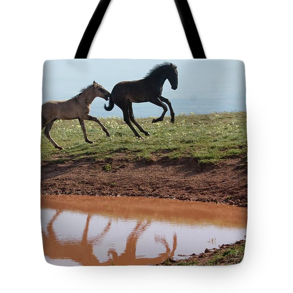 Fun In The Rockies- Wild Horse Foals Tote Bag