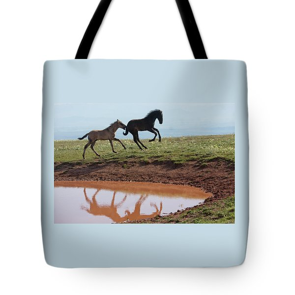 Fun In The Rockies- Wild Horse Foals Tote Bag