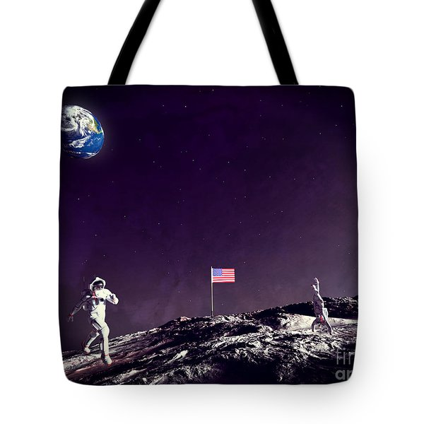 Tote Bag featuring the digital art Fun On The Moon by Methune Hively