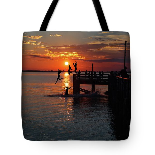 Fun On The Wharf Tote Bag by Jim  Hatch