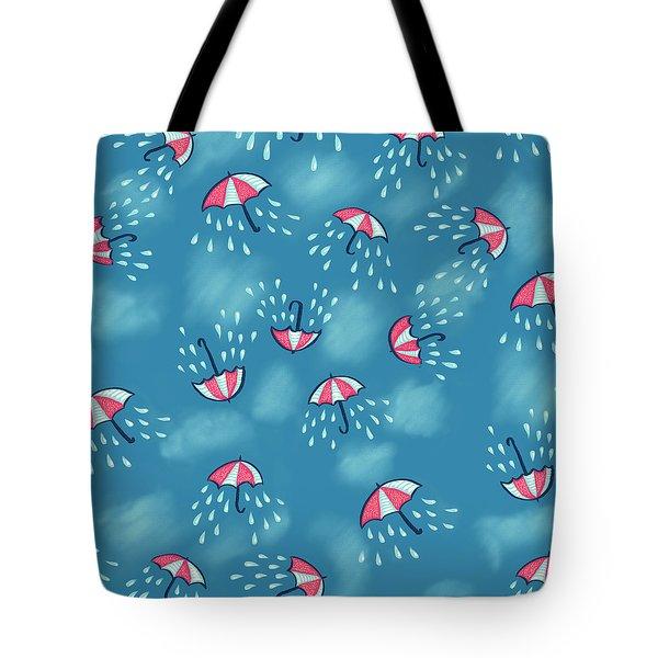 Fun Raining Umbrella Pattern Tote Bag