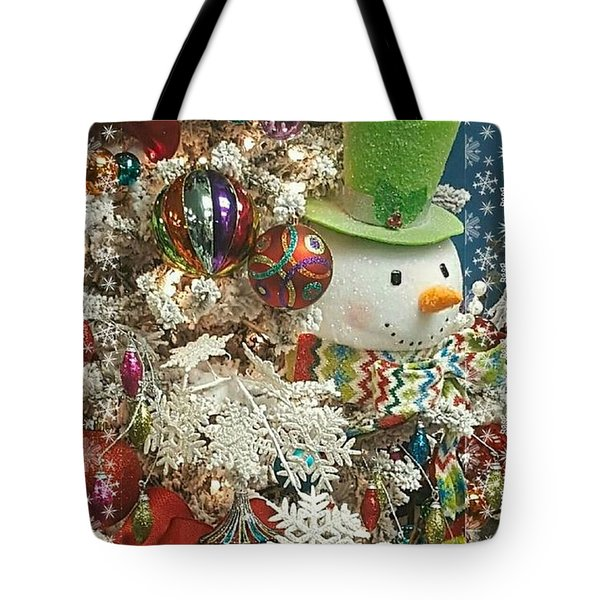 Fun Snowman Holiday Greeting Tote Bag